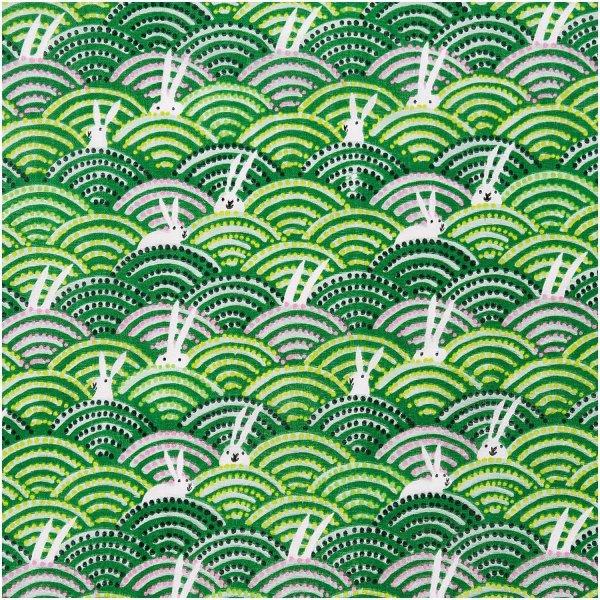 Rico Design   Stoffabschnitt   Musselin-Druckstoff   Bunny Hop Hasen Im Feld Grün   50x140cm