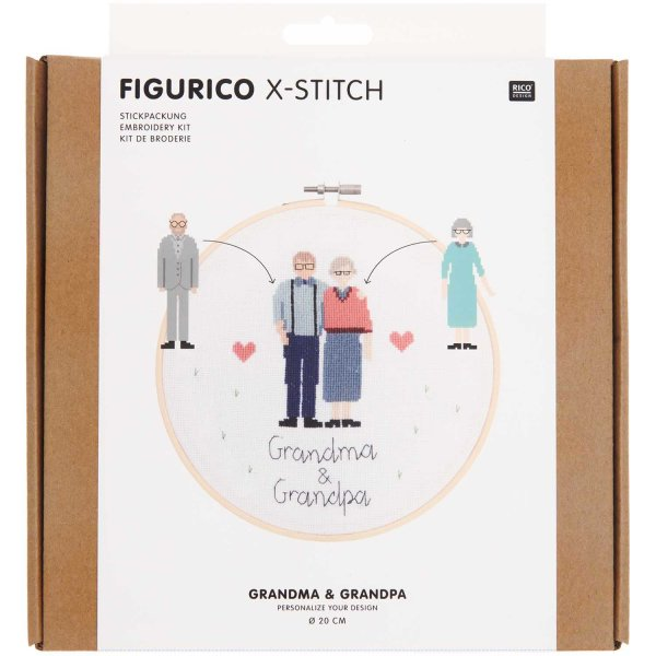 Rico Design   Stickpackung   Figurico   Grandma & Grandpa Ø 20 cm